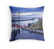 Whitby Steps and Harbour' Throw Pillow
