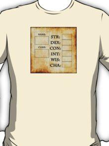 Blank RPG Character Sheet T-Shirt