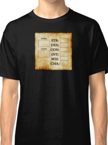 Blank RPG Character Sheet Classic T-Shirt