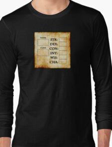 Blank RPG Character Sheet Long Sleeve T-Shirt