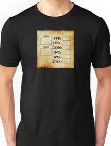 Blank RPG Character Sheet Unisex T-Shirt