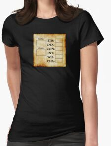Blank RPG Character Sheet Womens Fitted T-Shirt
