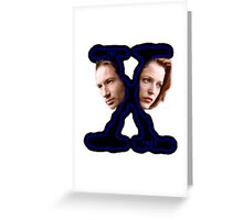 X-Files Scully and Mulder then Greeting Card