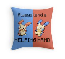 #311 Plusle and #312 Minun - Always lend a HELPING HAND - COLOUR Throw Pillow