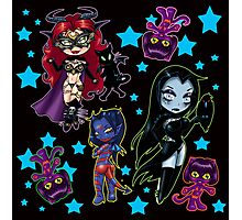 Tarot & Friends Chibi design on Black! Photographic Print