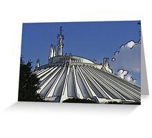 Space Mountain Cartoon Disneyland Disney World Greeting Card
