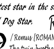 Wolfstar names Sticker