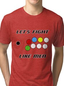 Arcade Stick: Let's Fight Like Men Tri-blend T-Shirt