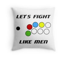 Arcade Stick: Let's Fight Like Men Throw Pillow