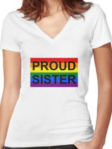 PROUD SISTER Women's Fitted V-Neck T-Shirt