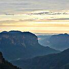 Misty Blue Mountain Sunrise - Govetts Leap by Bev Woodman