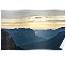 Misty Blue Mountain Sunrise - Govetts Leap Poster