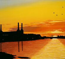 Power Station at Sunset by ben wighton