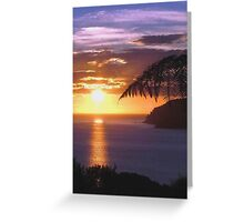Sunset over Tryphena harbour, Great Barrier Island, New Zealand. Greeting Card