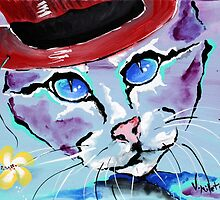 Cat With A Red Hat - Animal Art by Valentina Miletic by Valentina Miletic