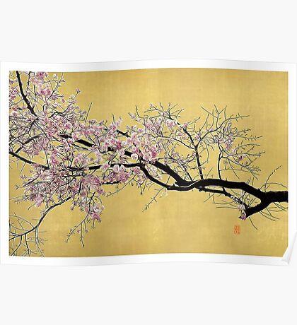 Sakura on Gold Poster
