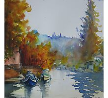 Canal with Russet Trees Photographic Print