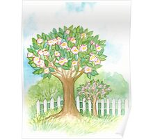 SPRING BLOOMING APPLETREES BEHIND A WHITE FENCE - Watercolour-Design Poster