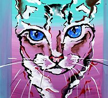 Colorful Cat - Animal Art by Valentina Miletic by Valentina Miletic