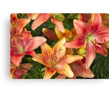 Lilies In Orange Red And Yellow  Canvas Print