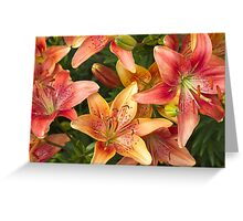 Lilies In Orange Red And Yellow  Greeting Card