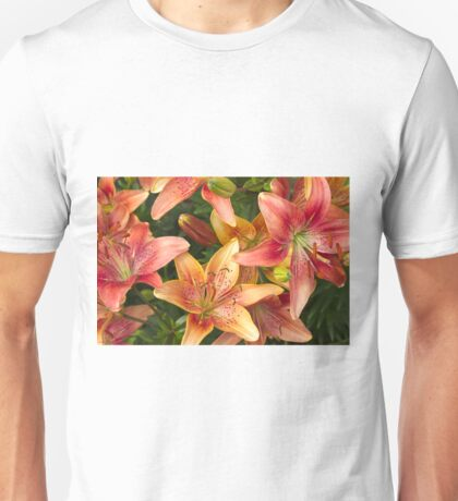 Lilies In Orange Red And Yellow  Unisex T-Shirt