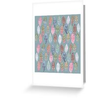Tribal Feathers on Blue Greeting Card
