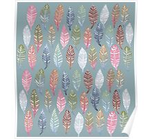 Tribal Feathers on Blue Poster
