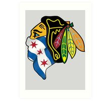 Blackhawks Chicago Flag Art Print