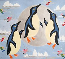 Penguins Playing with the Moon by jeuneart