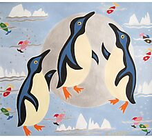 Penguins Playing with the Moon Photographic Print