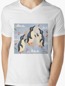 Penguins Playing with the Moon Mens V-Neck T-Shirt