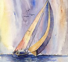 Sailing At Sunset by arline wagner