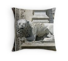 Carved lion guarding the entrance to the Palazzo dei Priori, Perugia, Italy Throw Pillow