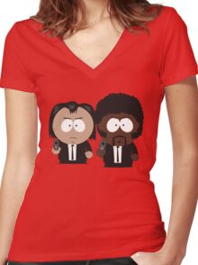 South Park Pulp Fiction Women's Fitted V-Neck T-Shirt