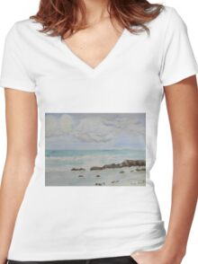 Small Wave breaking over the Rocks Women's Fitted V-Neck T-Shirt