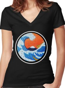 Sunset Hokusai Wave Larger Version Women's Fitted V-Neck T-Shirt