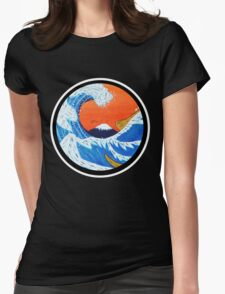 Sunset Hokusai Wave Larger Version Womens Fitted T-Shirt