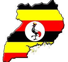 Ugandan flag and outline by Davedinho