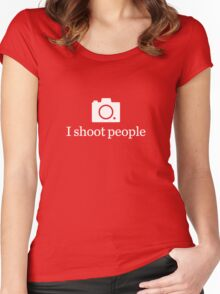 I shoot people - White Women's Fitted Scoop T-Shirt