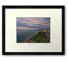 view of the coastline from Taormina Framed Print