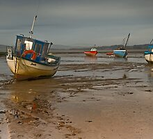 Boats on Morecambe Bay by Steve  Liptrot