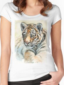 Tiger Cub portrait 865 Women's Fitted Scoop T-Shirt