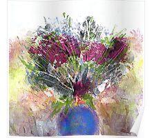 Burgundy Floral Poster