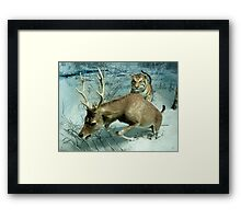 Natural environment diorama -  A deer escaping a tiger attack  Framed Print