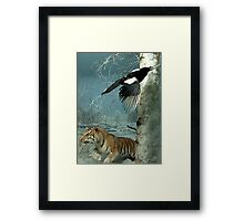 Natural environment diorama - a tiger and a bird in the snow  Framed Print
