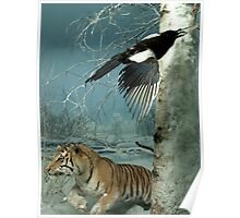 Natural environment diorama - a tiger and a bird in the snow  Poster