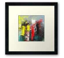 Urban Abstract in Red, Aqua, and Yellow Framed Print