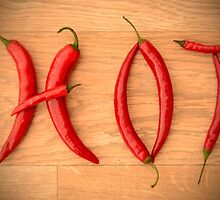Fiery Red Cayenne Chilli Pepper Letters Spelling HOT by HotHibiscus