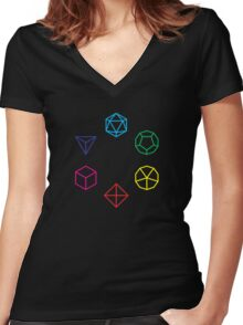 CMYK Rainbow Dice Geometry Women's Fitted V-Neck T-Shirt